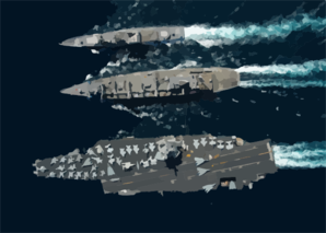 The Guided Missile Cruiser Uss Gettysburg (cg 64), Top, And The Aircraft Carrier Uss Enterprise (cvn 65), Bottom, Underway Alongside The Fast Combat Support Ship Uss Detroit (aoe 6) . Clip Art