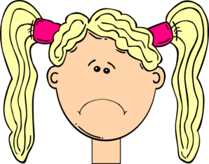 Sad Girl With Blonde Hair And Pigtails Clip Art