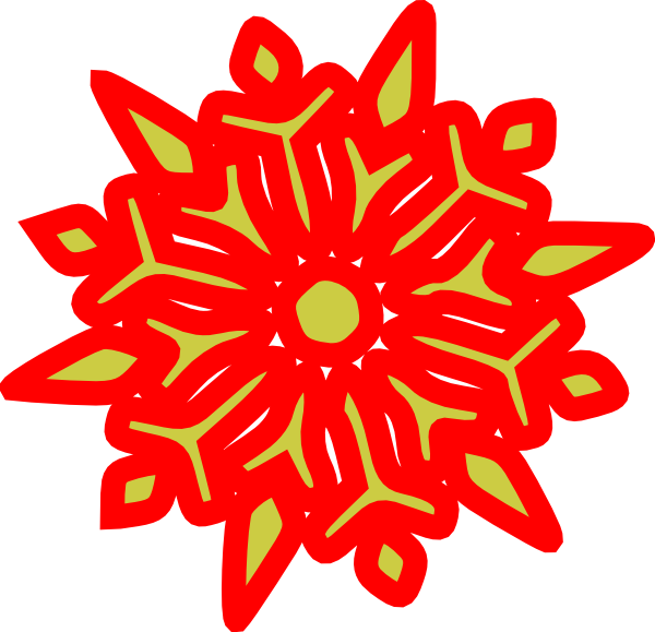 Snowflake Red N Green Clip Art at Clker.com - vector clip ...