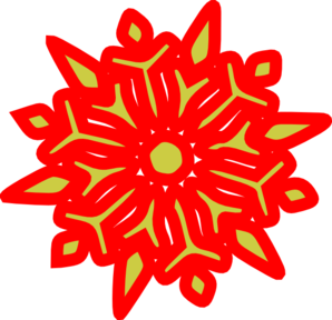 Snowflake Red N Green Clip Art