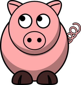 Pig Looking Left-up Clip Art