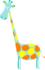 Giraffe Teal With Orange And Yellow Dots Clip Art