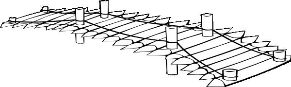 Wooden Bridge Wide Long Version Black And White Clip Art