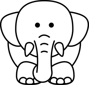 cartoon elephant bw clip art - Cartoon Outline Drawings
