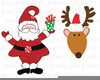 Santa Sleigh And Reindeer Clipart Image
