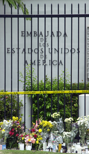 Following The Tragic Loss Of Life By Terrorist Events In New York, Washington D.c., And Pennsylvania, Mourners Have Placed Flowers And Candles Outside The U.s. Embassy In Panama City, Panama Image