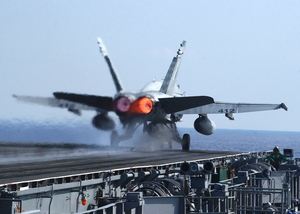 An F/a-18 Hornet Launches From One Of Four Steam Powered Catapults Aboard Uss Enterprise (cvn 65) Image