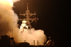 Tomahawk Land Attack Missiles (tlam) Launch From The Ship S Forward And Aft Mk-41 Vertical Launch Systems (vls) Aboard The Guided Missile Destroyer Uss Donald Cook (ddg 75). Image