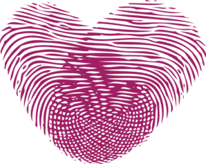 Single Plum Thumbprint Heart Clip Art