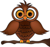 Wise Old Owl Cartoon Owl On A Tree Branch Smu Image