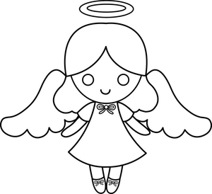 Angel white. Black and baby clipart