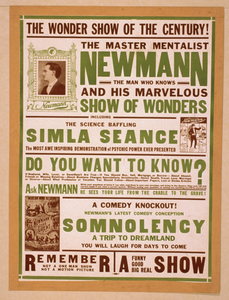 The Master Mentalist, Newmann The Man Who Knows And His Marvelous Show Of Wonders : Including The Science Baffling Simla Seance. Image