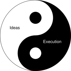 Startup Yin And Yang: Ideas And Execution Clip Art