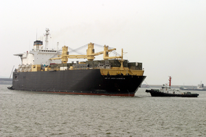 The Maritime Prepositing Ship Mv 1st Lt. Jack Lummus (t-ak 3011) Pulls Into Pyongtaek Port, South Korea. Image