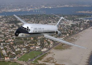 A C-9b Skytrain Ii From The Conquistadors Of Fleet Logistics Squadron Fifty Seven (vr-57) Passes Coronado, California Image