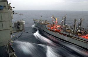 Usns Rappahannock Conducts Ras With Uss Kitty Hawk Image