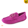 Women Pink Leather Loafers-cwmalls.com Image