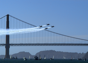 Navy Blue Angels Perform Flight Demonstrations Over The Golden Gate Bridge In San Francisco During Fleet Week 2003 Image