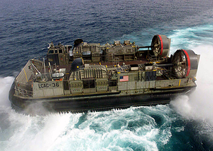 Hopper 36 From Assault Craft Unit Four (acu-4) Departs The Uss Kearsarge (lhd 3) During Landing Craft Air Cushion (lcac) Operations In The Arabian Gulf. Image