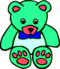 Surf Green Teddy Bear Clipart Image
