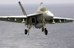 An F/a-18f Super Hornet Assigned To The  Black Aces  Of Strike Fighter Squadron Forty-one (vfa-41). Image