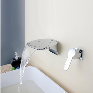 Contemporary Waterfall Chrome Finish Brass Two Holes Single Handle Bathroom Sink Faucet--faucetsuperdeal.com Image