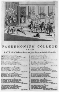 Pandemonium College, Or The Battle Of The Bulls, Bears, And Lame Ducks, As Fought In  C--ge- Alley Image