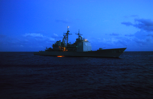 Uss Philippine Sea  (cg-58) Makes Her Way In The Atlantic Ocean Image