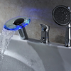 Led Waterfall Two Handles Glass Tub Faucet With Hand Shower--faucetsuperdeal.com Image