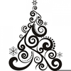 Black And White Christmas Tree Clipart Image