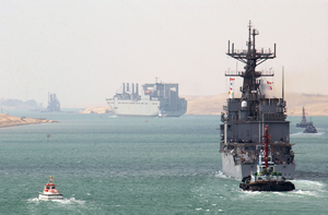 The Destroyer Uss Deyo (dd 989), One Of The Many Warships Supporting Operation Iraqi Freedom, Transits The Suez Canal Image