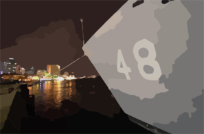 The Hull Number On The Bow Of Uss Vandegrift (ffg 48) Is Visible Over The City Lights Of Ho Chi Minh City, Vietnam, Following Her Arrival For A Scheduled Port Visit. Clip Art