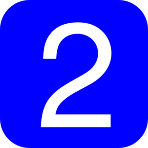 Blue, Rounded, Square With Number 2 Clip Art