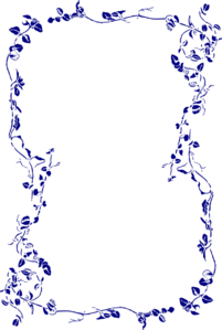 Navy Blue Floral Border Clip Art