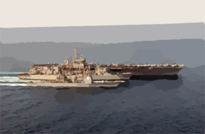 Uss Nimitz (cvn 68), Uss Princeton (cg 59), And Uss Bridge (aoe 10) Participate In An Underway Replenishment (unrep). Clip Art