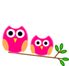 Big And Little Pink Owls On Branch Clip Art