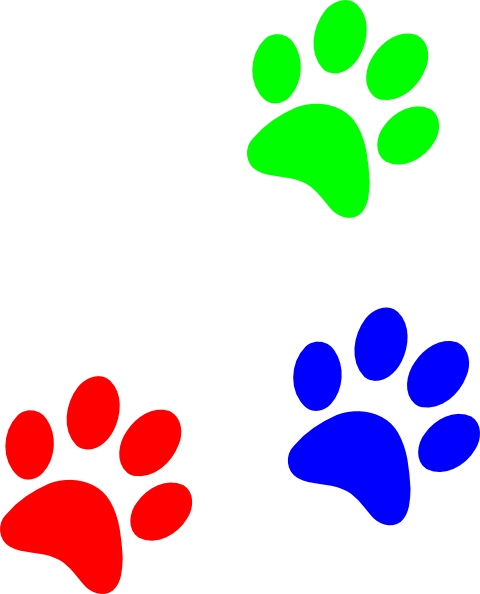 Primary Colors Paw Prints Clip Art at Clker.com - vector ...