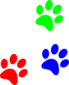 Primary Colors Paw Prints Clip Art