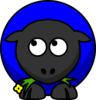 Blue Sheep Looking Left Clip Art