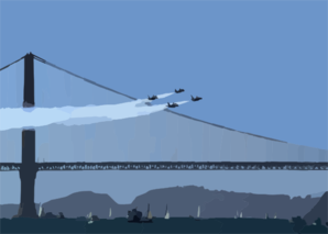 Navy Blue Angels Perform Flight Demonstrations Over The Golden Gate Bridge In San Francisco During Fleet Week 2003 Clip Art