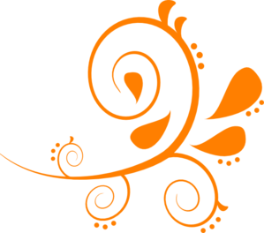 Paisley Curves Orange Clip Art