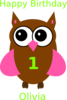 Pink Birthday Owl Clip Art