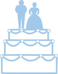 Simple Blue Wedding Cake Outline With Bride And Groom Clip Art