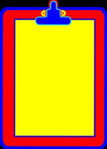 Yellow, Red, Blue Clipboard Clip Art at Clker.com - vector clip ...