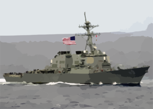 The Guided Missile Destroyer Uss Milius (ddg 69) Proudly Displays Her Large American Flag During A Practice Sea Power Demonstration For Uss Constellation Clip Art
