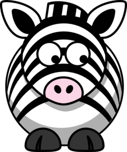 Zebra Looking Right-down Clip Art