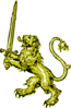 Gold Lion With Sword Clip Art