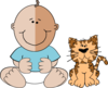 Baby Boy With Cat Clip Art