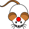 White Mouse W/ Red Cirlce Clip Art