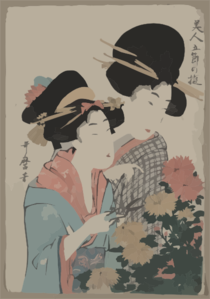 Two Women Looking At Flowers, One Is Holding Scissors Clip Art